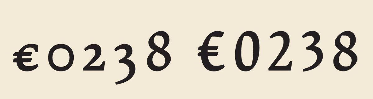 A new glyph for the European currency - The size of currency symbols