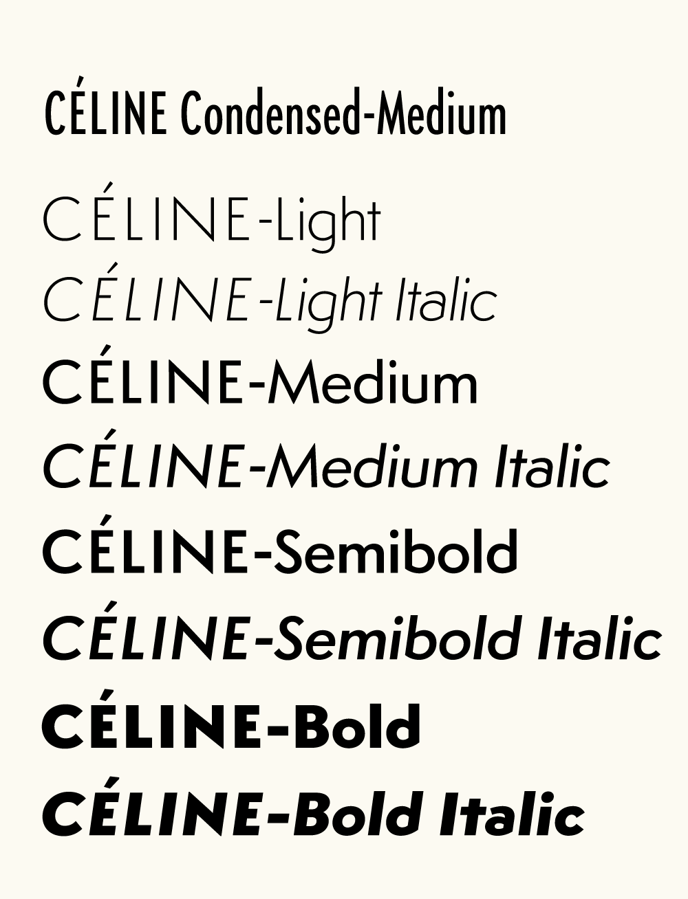 Céline - All styles of the new corporate font